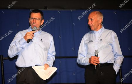 Amgen Tour of California 2014 Phil Liggett and Paul SHERWEN open proceedings for the Tour of California