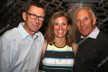Amgen Tour of California 2015 Los Angeles end of race Chairmans Dinner. on left Paul SHERWEN (GBr) Kristin KLEIN (USA) President, Amgen Tour of California and Executive Vice President, AEG Sports and speaker Phil Liggett (GBr).