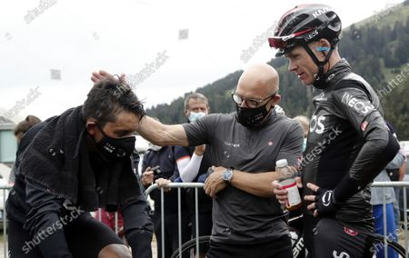 Colombia's Egan Bernal (L), Britain's Chris Froome (R) and general manager Dave Brailsford of Team Ineos react after the 3rd stage of the La Route d'Occitanie La Depeche du Midi cycling race over 163,5km between Saint-Gaudens and Col-de-Breyere, France, 03 August 2020.