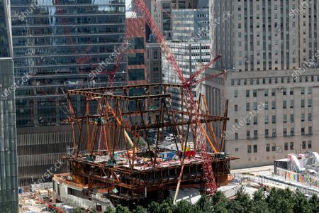 Stock Picture of Construction continues on the steel frame of the Ronald O. Perelman Performing Arts Center, at the World Trade Center in New York