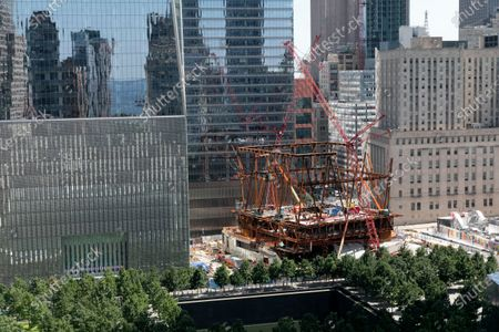 Stock Image of Construction continues on the steel frame of the Ronald O. Perelman Performing Arts Center, at the World Trade Center in New York