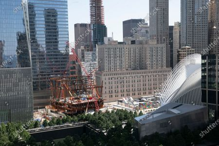 Construction continues on the steel frame of the Ronald O. Perelman Performing Arts Center, at the World Trade Center in New York