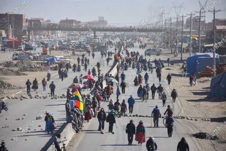 Demonstrations and blockades due to postponement of Bolivian elections, El Alto, Bolivia - 03 Aug 2020 için haber amaçlı resim