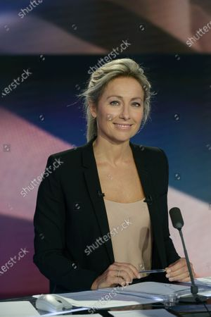 Anne-Sophie Lapix, journalist during the election evening for municipal elections in the second round