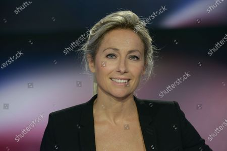 Stock Image of Anne-Sophie Lapix, journalist during the election evening for municipal elections in the second round
