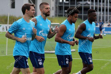 Stock Photo of Benito Raman (FC Schalke 04),Matija Nastasic (FC Schalke 04), Weston James Earl McKennie (FC Schalke 04) and Rabbi Matondo (FC Schalke 04) v.li.