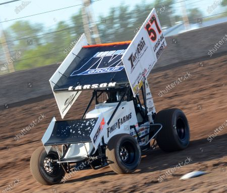 Former NASCAR driver Kyle Larson is seen during the 2nd annual Rayce Rudeen Foundation sprint-car race at the Plymouth Dirt Track in Plymouth, Wisconsin