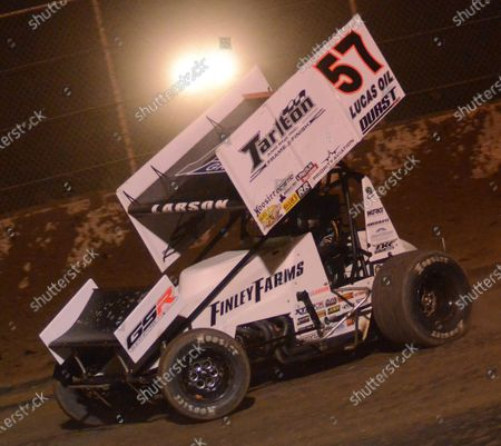 Stock Photo of Former NASCAR driver Kyle Larson is seen during the 2nd annual Rayce Rudeen Foundation sprint-car race at the Plymouth Dirt Track in Plymouth, Wisconsin