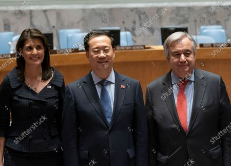 Nikki Haley, Ma Zhaoxu, Antonio Guterres attend Photo opportunity for Secretary-General Antonio Guterres with Members of the Security Council at UN Headquarters