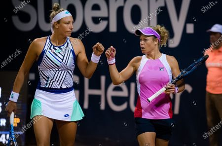 Stock Photo of Laura Siegemund of Germany playing doubles with Yanina Wickmayer at the 2020 Palermo Ladies Open WTA International tennis tournament