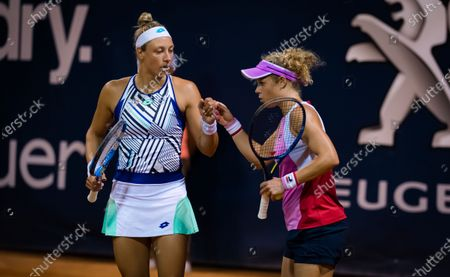 Stock Picture of Laura Siegemund of Germany playing doubles with Yanina Wickmayer at the 2020 Palermo Ladies Open WTA International tennis tournament