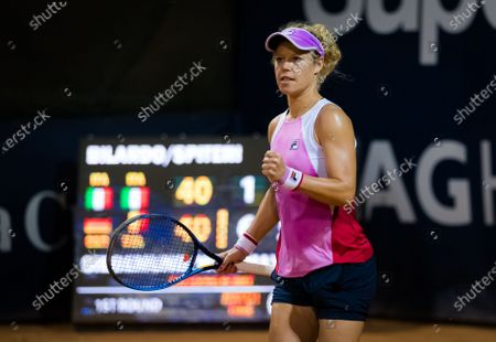 Stock Image of Laura Siegemund of Germany playing doubles with Yanina Wickmayer at the 2020 Palermo Ladies Open WTA International tennis tournament