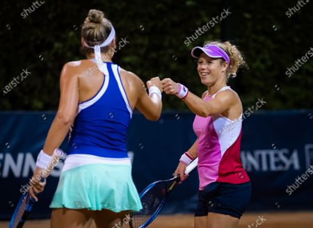 Laura Siegemund of Germany playing doubles with Yanina Wickmayer at the 2020 Palermo Ladies Open WTA International tennis tournament