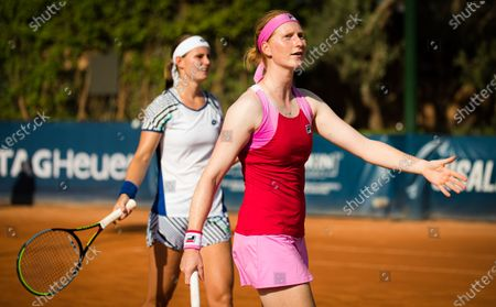 Alison Van Uytvanck & Greet Minnen of Belgium in action during the doubles semi-final at the 2020 Palermo Ladies Open WTA International tennis tournament