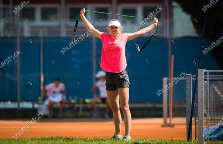 Aliaksandra Sasnovich of Belarus during practice at the 2020 Prague Open WTA International tennis tournament