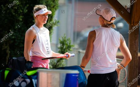 Stock Photo of Eugenie Bouchard of Canada with coach Rennae Stubbs during practice at the 2020 Prague Open WTA International tennis tournament