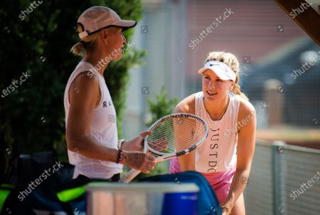 Eugenie Bouchard of Canada with coach Rennae Stubbs during practice at the 2020 Prague Open WTA International tennis tournament