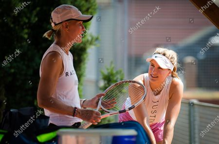 Stock Picture of Eugenie Bouchard of Canada with coach Rennae Stubbs during practice at the 2020 Prague Open WTA International tennis tournament