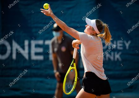 Aliaksandra Sasnovich of Belarus in action during the second qualifications round at the 2020 Prague Open WTA International tennis tournament