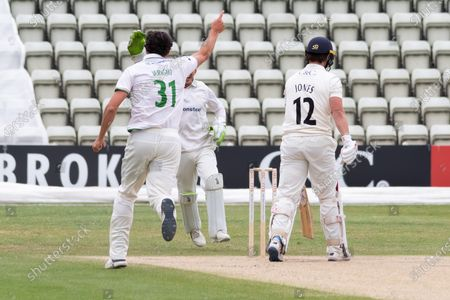 WICKET - Rob Jones is caught off Chris Wright during the Bob Willis Trophy match between Lancashire County Cricket Club and Leicestershire County Cricket Club at Blackfinch New Road, Worcester