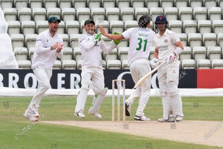 WICKET - Chris Wright celebrates the wicket of Rob Jones during the Bob Willis Trophy match between Lancashire County Cricket Club and Leicestershire County Cricket Club at Blackfinch New Road, Worcester