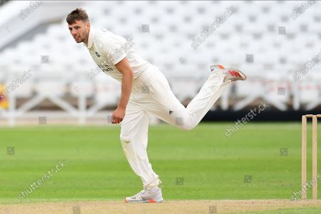 Tom Barber of Nottinghamshire bowling from the Pavillion end during the Bob Willis Trophy match between Nottinghamshire County Cricket Club and Derbyshire County Cricket Club at Trent Bridge, Nottingham