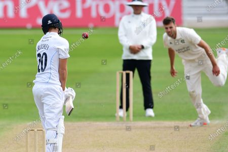 Matt Critchley of Derbyshire evading a ball from Tom Barber during the Bob Willis Trophy match between Nottinghamshire County Cricket Club and Derbyshire County Cricket Club at Trent Bridge, Nottingham