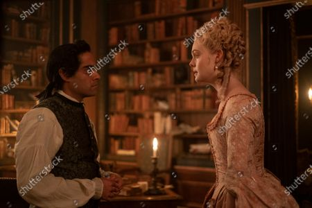Sacha Dhawan as Orlo and Elle Fanning as Catherine