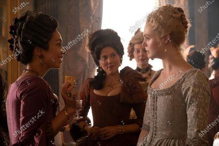 Danusia Samal as Lady Antonia Svenska, Charity Wakefield as Georgina, Florence Keith-Roach as Tatyana and Elle Fanning as Catherine