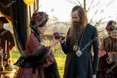 Stock Photo of Charity Wakefield as Georgina and Adam Godley as Archbishop