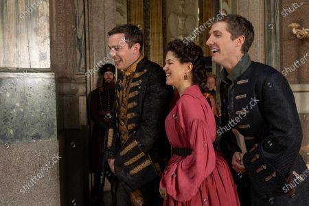 Nicholas Hoult as Peter, Charity Wakefield as Georgina and Gwilym Lee as Grigor Dymov