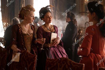Stock Photo of Florence Keith-Roach as Tatyana, Danusia Samal as Lady Antonia Svenska and Charity Wakefield as Georgina