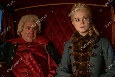 Douglas Hodge as Velementov and Elle Fanning as Catherine