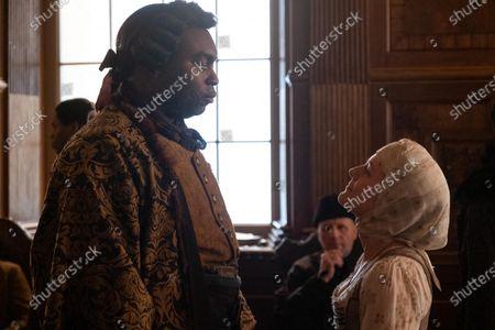 Abraham Popoola as Rostov and Phoebe Fox as Marial