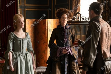 Stock Image of Elle Fanning as Catherine, Belinda Bromilow as Aunt Elizabeth and Nicholas Hoult as Peter