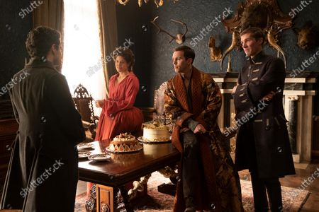 Sebastian de Souza as Leo, Charity Wakefield as Georgina, Nicholas Hoult as Peter and Gwilym Lee as Grigor Dymov