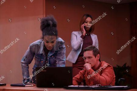 Stock Photo of Pearl Thusi as Queen Sono, Mbali Mlotshwa as Nova and Rob van Vuuren as Viljoen