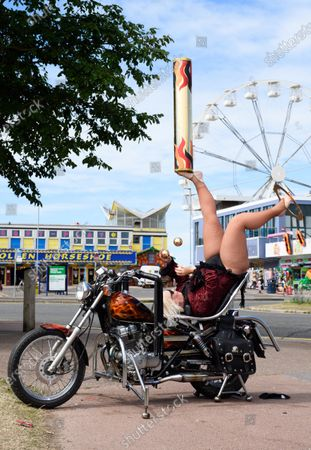 French Foot juggler Germaine performs on the Southsea waterfront ahead of todays show