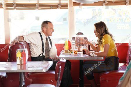 Clark Gregg as Director Phil Coulson and Chloe Bennet as Agent Daisy Johnson