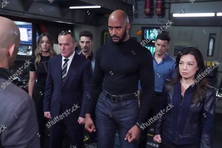 "Stock Picture of Chloe Bennet as Agent Daisy Johnson, Clark Gregg as Director Phil Coulson, Jeff Ward as Deke Shaw, Henry Simmons as Agent Alphonso ""Mack"" MacKenzie, Enver Gjokaj as Daniel Sousa and Ming-Na Wen as Agent Melinda May"