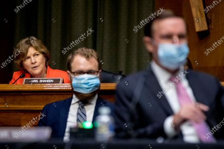 Sen. Jeanne Shaheen, D-N.H., left, speaks as State Department Special Representative for Venezuela Ambassador Elliott Abrams appears before a Senate Foreign Relations Committee hearing on Capitol Hill in Washington