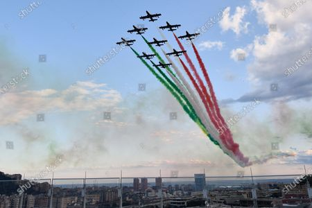 The Italian Air Force aerobatic unit Frecce Tricolori (Tricolor Arrows) spread smoke with the colors of the Italian flag during the official inauguration ceremony of the new San Giorgio bridge. The new San Giorgio bridge designed by architect Renzo Piano replaces Morandi bridge that collapsed in August 2018 and the new bridge is set to reopen on 05 August 2020 during the inauguration ceremony.