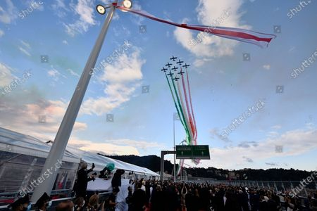 The Italian Air Force aerobatic unit Frecce Tricolori (Tricolor Arrows) spread smoke with the colors of the Italian flag during the inauguration ceremony of the new San Giorgio bridge. The new San Giorgio bridge designed by architect Renzo Piano replaces Morandi bridge that collapsed in August 2018 and the new bridge is set to reopen on 05 August 2020 during the inauguration ceremony.