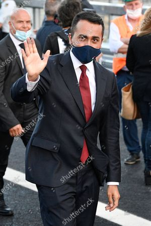 Foreign minister Luigi Di Maio wearing a facemask is seen leaving the official inauguration ceremony of the new San Giorgio bridge. The new San Giorgio bridge designed by architect Renzo Piano replaces Morandi bridge that collapsed in August 2018 and the new bridge is set to reopen on 05 August 2020 during the inauguration ceremony.