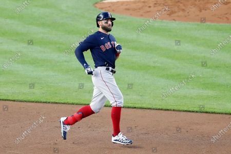 Boston Red Sox Kevin Pillar runs to second after hitting a ground rule double off New York Yankees starting pitcher James Paxton, during a baseball game, at Yankee Stadium in New York