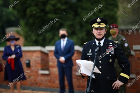 Chief of Staff of the US Ground Forces General James McConvill (2R) during a meeting with the US Ambassador to Poland Georgette Mosbacher and Polish Defense Minister Mariusz Blaszczak in Krakow, Poland, 04 August 2020. During the meeting, the location of the forward American command structure in Poland, responsible for ensuring proper command and cooperation with American and European allies, was confirmed. Defence Minister Mariusz Blaszczak said in Krakow, southern Poland, on Tuesday that placing the forward command of the 5th US Army Corps in Poland is the crowning achievement of efforts to increase the American military presence in Poland.