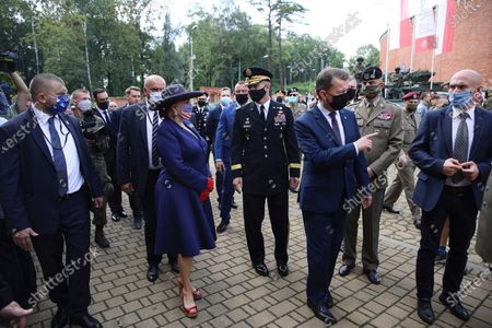 Polish Defense Minister Mariusz Blaszczak (3-R) during a meeting with the US Ambassador to Poland Georgette Mosbacher (3-L) in Krakow, Poland, 04 August 2020. During the meeting, the location of the forward American command structure in Poland, responsible for ensuring proper command and cooperation with American and European allies, was confirmed. Defence Minister Mariusz Blaszczak said in Krakow, southern Poland, on Tuesday that placing the forward command of the 5th US Army Corps in Poland is the crowning achievement of efforts to increase the American military presence in Poland.