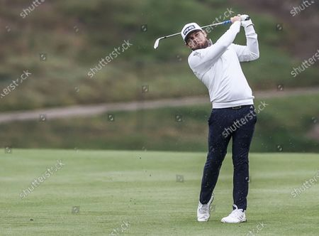 Tyrell Hatton of England hits on the eighteenth hole during practice for the 2020 PGA Championship golf tournament at TPC Harding Park in San Francisco, California, USA, 04 August 2020. The competition will be played 06 - 09 August in the absence of fans.