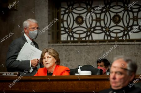 United States Senator Jeanne Shaheen (Democrat of New Hampshire), questions the panel at the US Senate Committee on Armed Services hearings to examine the nomination of John E. Whitley, of Virginia, to be Director of Cost Assessment and Program Evaluation, Shon J. Manasco, of Texas, to be Under Secretary of the Air Force, Michele A. Pearce, of Virginia, to be General Counsel of the Department of the Army, all of the Department of Defense, Liam P. Hardy, of Virginia, to be a Judge of the United States Court of Appeals for the Armed Forces, in the Dirksen Senate Office Building on Capitol Hill in Washington, DC.,.