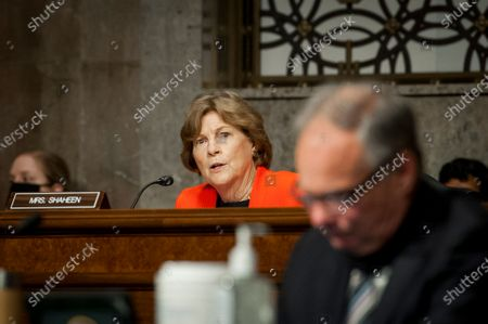 United States Senator Jeanne Shaheen (Democrat of New Hampshire), questions the panel at the Senate Committee on Armed Services hearings to examine the nomination of John E. Whitley, of Virginia, to be Director of Cost Assessment and Program Evaluation, Shon J. Manasco, of Texas, to be Under Secretary of the Air Force, Michele A. Pearce, of Virginia, to be General Counsel of the Department of the Army, all of the Department of Defense, Liam P. Hardy, of Virginia, to be a Judge of the United States Court of Appeals for the Armed Forces, in the Dirksen Senate Office Building on Capitol Hill in Washington, DC.,.